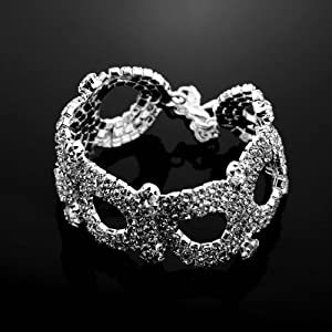 28g 7.2'' Bridal Jewelry Hollow out Crystal Rhinestone Round Stretch Bracelet Silver for Wedding, Occassional, party