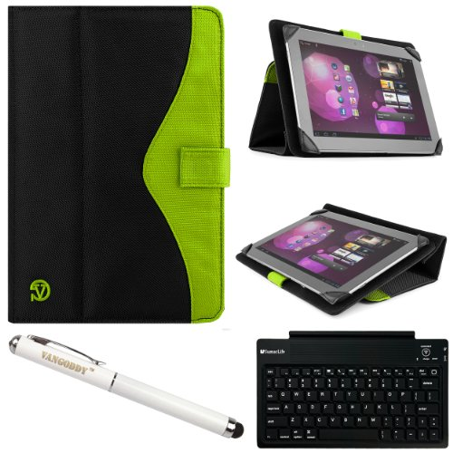Vg Soho 2 Piece Nylon Folio Case Cover & Stand For Htc Google Nexus 9 (8.9-Inch 16Gb 32Gb) + Vangoddy Stylus Pen & Laser + Sumaclife Bluetooth Keyboard (Green)