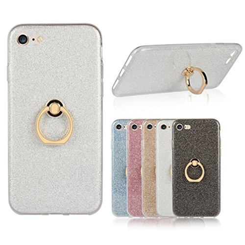 Iphone 7 Case, Ranrou TPU Soft Sparkle Powder Back Cover with 360 Degree Rotating Ring Stent for Iphone 7(2016)(Silver)