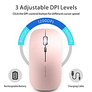Picktech Q5 Slim Rechargeable Wireless Mouse, 2.4G Portable Optical Silent Ultra Thin Wireless Computer Mouse with USB Receiver and Type C Adapter, Compatible with PC, Laptop, Desktop (Rose Gold) (Color: Rose Gold)