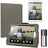 BIRUGEAR SlimBook Leather Folio Stand Case Cover w/ Stylus, Screen Protector for Acer Iconia A1-830 7.9-Inch Android Tablet - Gray