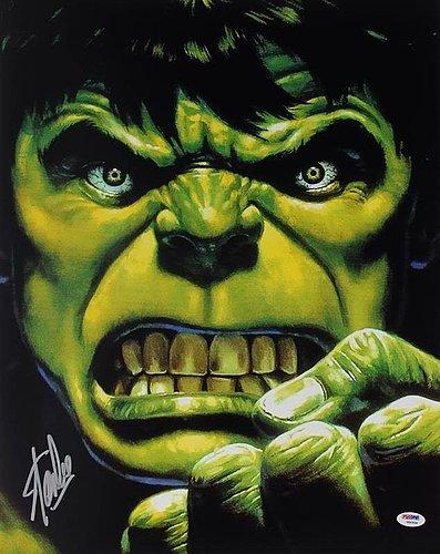 Autographed/Signed Stan Lee Autographed The Hulk 16X20 Photo Marvel Comics Autograph - PSA/DNA Authentication - Celebrity Signed Pictures