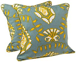 Tululah Designs 18-Inch by 18-Inch Priya Paisley Print Cushion Cover, Coach Blue, Set of 2