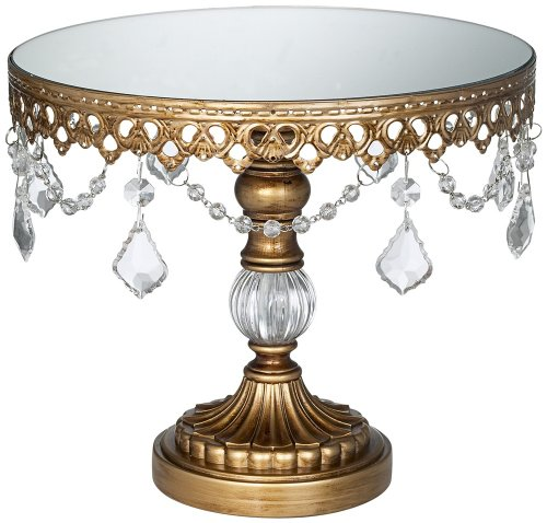 Antique Gold Beaded Small Cake Stand [Kitchen]