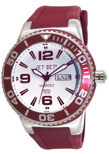 Jet Set J55454-07 - Reloj analógico de cuarzo unisex con correa de caucho, color rojo
