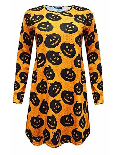 Janisramone Womens Ladies New Pumpkin Skulls Bats Print Long Sleeve Skater Flared Halloween Swing (Beetle Juice Costume)