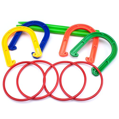 Plastic Horseshoe and Ring Toss Game Set (2 in