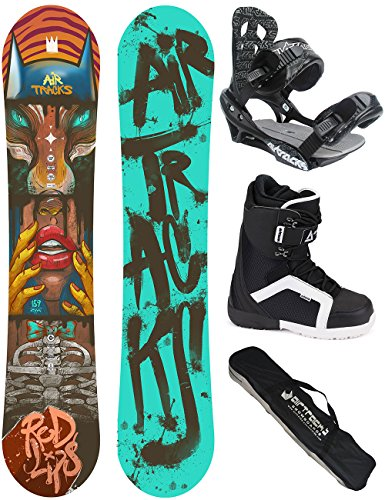AIRTRACKS SNOWBOARD KOMPLETT SET / RED LIPS CARBON SNOWBOARD WIDE FLAT ROCKER + BINDUNG SAVAGE + BOOTS + SB BAG / 152 156 159 / cm