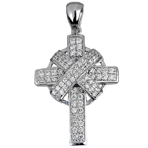 Micro Pave White CZ Cross Pendant .925 Sterling Silver