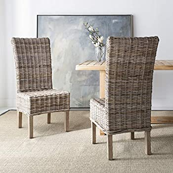 Safavieh FOX6521A-SET2 Home Collection Quaker Dining Chair, Set of 2, Natural