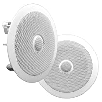 Pyle PDIC60 In-Wall / In-Ceiling Dual 6.5-Inch Speaker System, Directable Tweeter, 2-Way, Flush Mount, White (Pair)