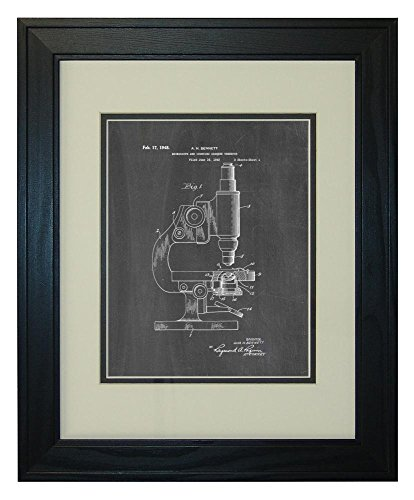 """Microscope And Counting Chamber Patent Art Chalkboard Print In A Solid Pine Wood Frame (11"""" X 14"""")"""