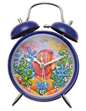 Alarm clock in blue with fish design - battery operated