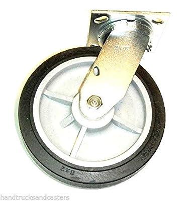 "One Swivel Plate Caster Soft Flat Tread Black Performa Rubber 8"" Wheel"