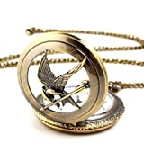 Yesurprise Unisex Antique Case Vintage Brass Rib Chain Quartz Pocket Watch Hollow Bird