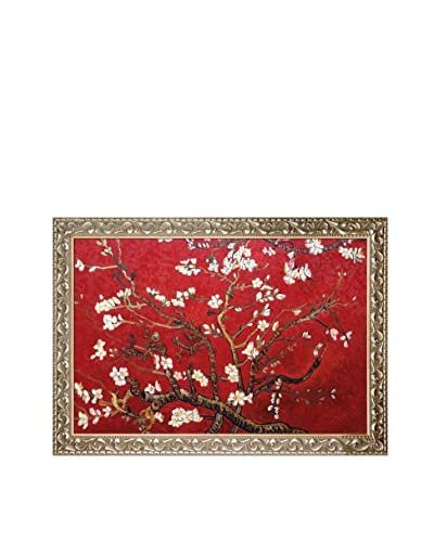 Vincent Van Gogh's Branches Of An Almond Tree In Blossom (Red) Framed Hand Painted Oil On Canvas