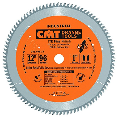CMT 255.096.12 ITK Industrial Fine Finish Saw Blade, 12-Inch x 96 Teeth 40° ATB Grind with 1-Inch Bore (12 Inch 96 Tooth Saw Blade compare prices)