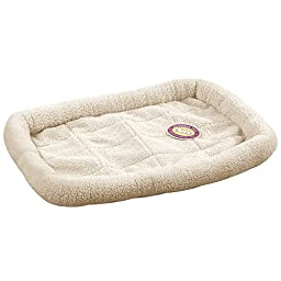 Slumber Pet Sherpa Crate Beds  -  Comfortable Bumper-Style Beds for Dogs and Cats - X-Large, Natural Beige
