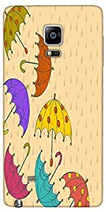 Snoogg Abstract Rainy Season Background With Rain Drops And Colorful Umbrella...