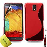 AOA Cases® Tpu Gel Case Back Cover For Samsung Galaxy Note 3 + Stylus + Screen Protector (Samsung Galaxy Note 3 N9000, Red)