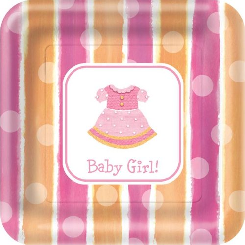 Paper Art Baby Girl 18 Count 9 Inch Square Dinner Plates - 1