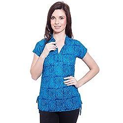 TUNTUK Women's Killer Top Blue Cotton Top