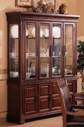 Cheap China Cabinet Buffet Hutch Old West Style Dark Brown Finish (VF_3638)