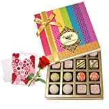 Valentine Chocholik's Belgium Chocolates - Surprising Treat Of White Truffles Box With Love Card And Rose