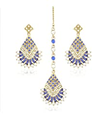 I Jewels Traditional Gold Plated Earrings With Mang Tikka For Women TE2310BL (Blue)