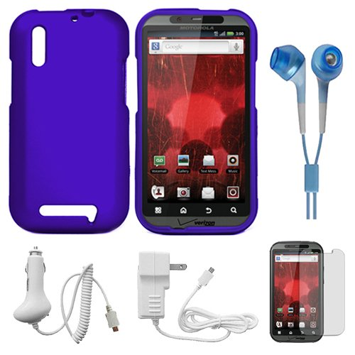 Blue 2 Piece Protective Crystal Hard Snap-On Protector Case for Motorola Droid Bionic XT865 Verizon Wireless New Android Smartphone + INCLUDES!!! Clear Screen Protector for Motorola Droid Bionic (XT865) + INCLUDES!!! White Rapid Home Charger with IC Chip + INCLUDES!!! White Rapid Car Charger with IC Chip + INCLUDES!!! Blue Hifi-Noise Reducing Headphones