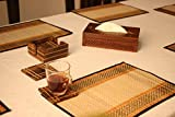 #1 Drink Coaster 12 DAYS of DEALS - SALE onBest SouvNear Complete 6 Mango Wood Drink Coasters and Holder Set - Handmade Brown Wooden Hand-Carved Square Beverage Coasters