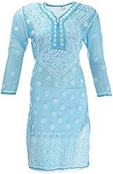 AKS Lucknow Women's Regular Fit Kurti (TK-60_46, BLUE, 46)