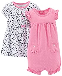 Carter\'s Baby Girls\' 2 Piece Dress & Romper Set (Baby) - Pink - 12 Months