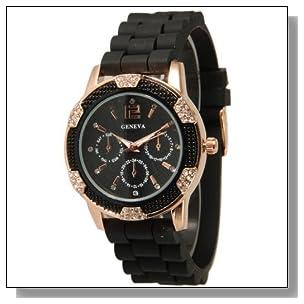 Women's Black Rose Gold Geneva Faux Chronograph Silicone Watch with Crystal Rhinestones Bezel