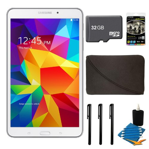 "Samsung Galaxy Tab 4 White 16Gb 8"" Tablet, 32Gb Card, And Case Bundle - Includes Tablet, 32 Gb Micro Sd Memory Card, 10"" Sleeve For Tablets, Audio Earbuds With Microphone, 3 Stylus Pens With Pocket Clip, And 3Pc. Lens Cleaning Kit"