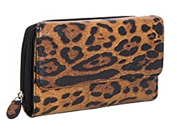 Mundi 333475/D178 Womens Croc Faux Patent Leather Big Fat Wallet (LEOPARD)