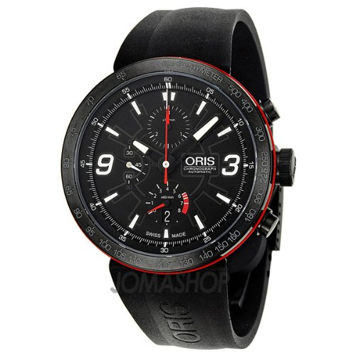 Oris TT1 Black Dial Rubber Mens Watch 674-7659-4764RS