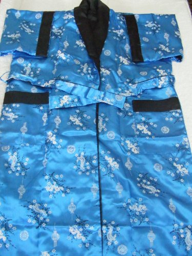 Women's 100% Thai Silk Kimono- Teal Blue Oriental Dragon Design (SIZE XXL 46-48)
