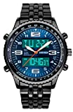 【貞恵】TEIKEI 腕時計 ビッグフェイス デュアルタイム表示 ブラックスチールバンド メンズ 1032 ブルー