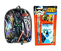 Star Wars Backpack and Study Set Bundle (6 Pieces)