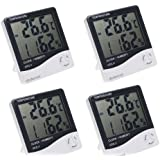 4 PCS of DODOCOOL LCD Display Digital Thermometer Hygrometer mit temperature, humidity and time Clock & Calendar function (-10 ~ +50 ℃)