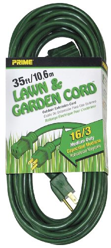 Prime Wire & Cable Ec880627 35-Foot 16/3 Sjtw Lawn And Garden Outdoor Extension Cord, Green