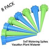 [Self Watering Spikes, Vacation Plant Waterer - 8 Pack] eLander Automatic Watering Spike for Indoor Outdoor Use, Perfect for Vacation Plant Watering and Drip Irrigation Watering