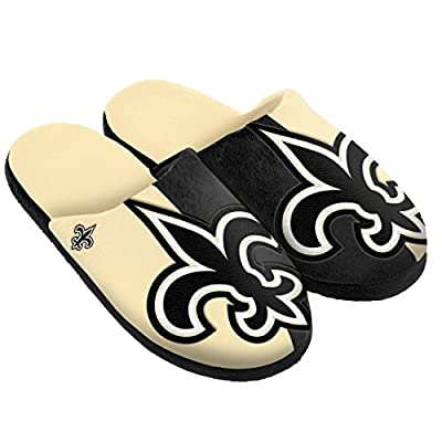 NFL New Orleans Saints Split Color Slide Slipper, Medium, Black