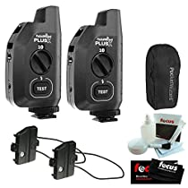 PocketWizard Plus X Radio Trigger with 10 Channels (Set of 2) + Hildozine Transceiver Caddy V3 (Set of 2) + Carrying Case