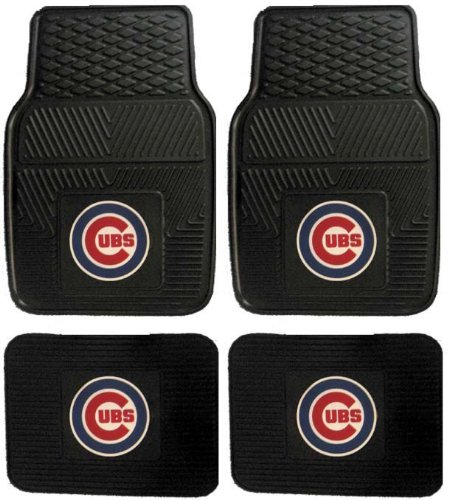 Mlb Chicago Cubs Car Floor Mats Heavy Duty 4-Piece Vinyl - Front And Rear