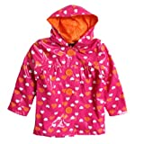 Pink Platinum Kid Girls Pink Orange Heart Polka Dot Hooded Raincoat Jacket