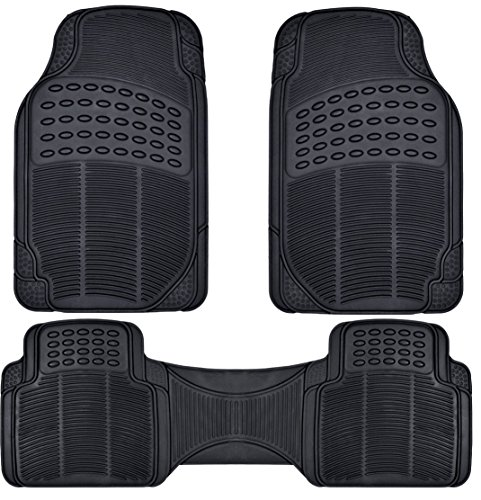 BDK Front and Back ProLiner Heavy Duty Rubber Floor Mats for Auto, 3 Piece Set (2002 Nissan Frontier Accessories compare prices)