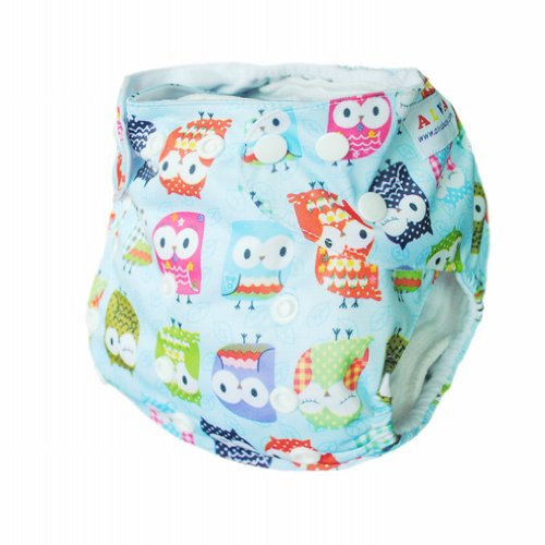 Alva Baby One Size Washable Reusable Cloth Diaper (Blue Owl) Two Inserts N15 - 1