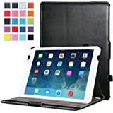 MoKo Apple iPad Mini 3, 2 and 1 Case - Genuine Leather Slim-Fit Cover Case for Mini3 (2014 edition with Touch ID), Mini2 (2013 model with Retina Display) and Mini (2012 1st gen), BLACK (with Smart Cover Auto Wake / Sleep)